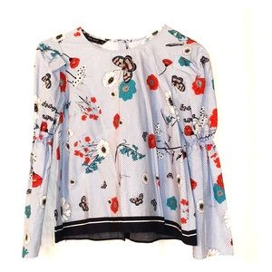 ZARA printed long sleeve top - great condition!